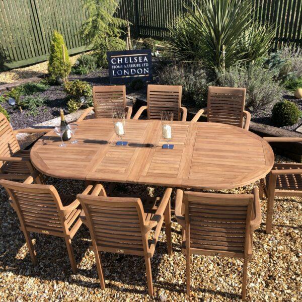 teak extending table set