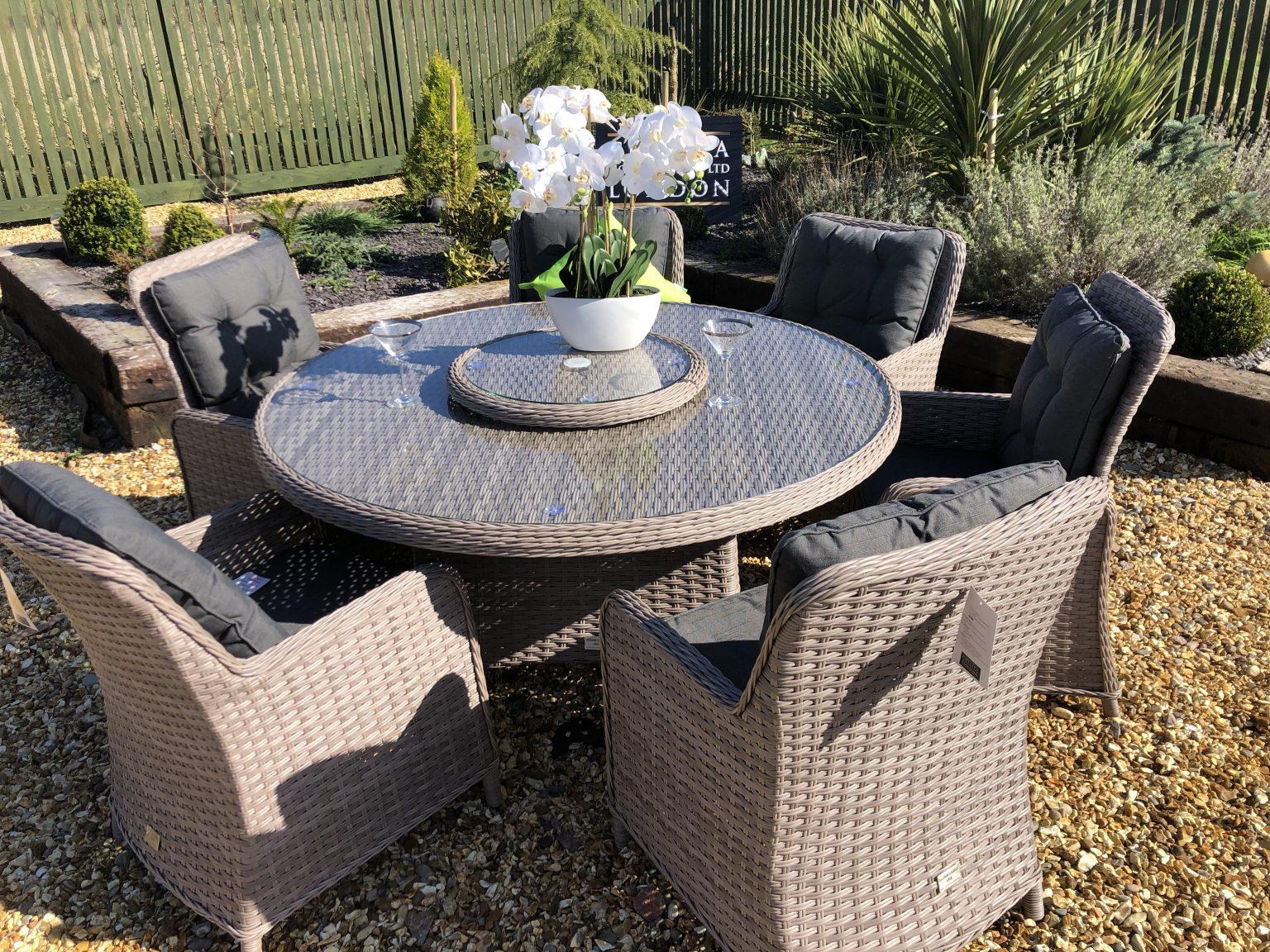 round garden table set