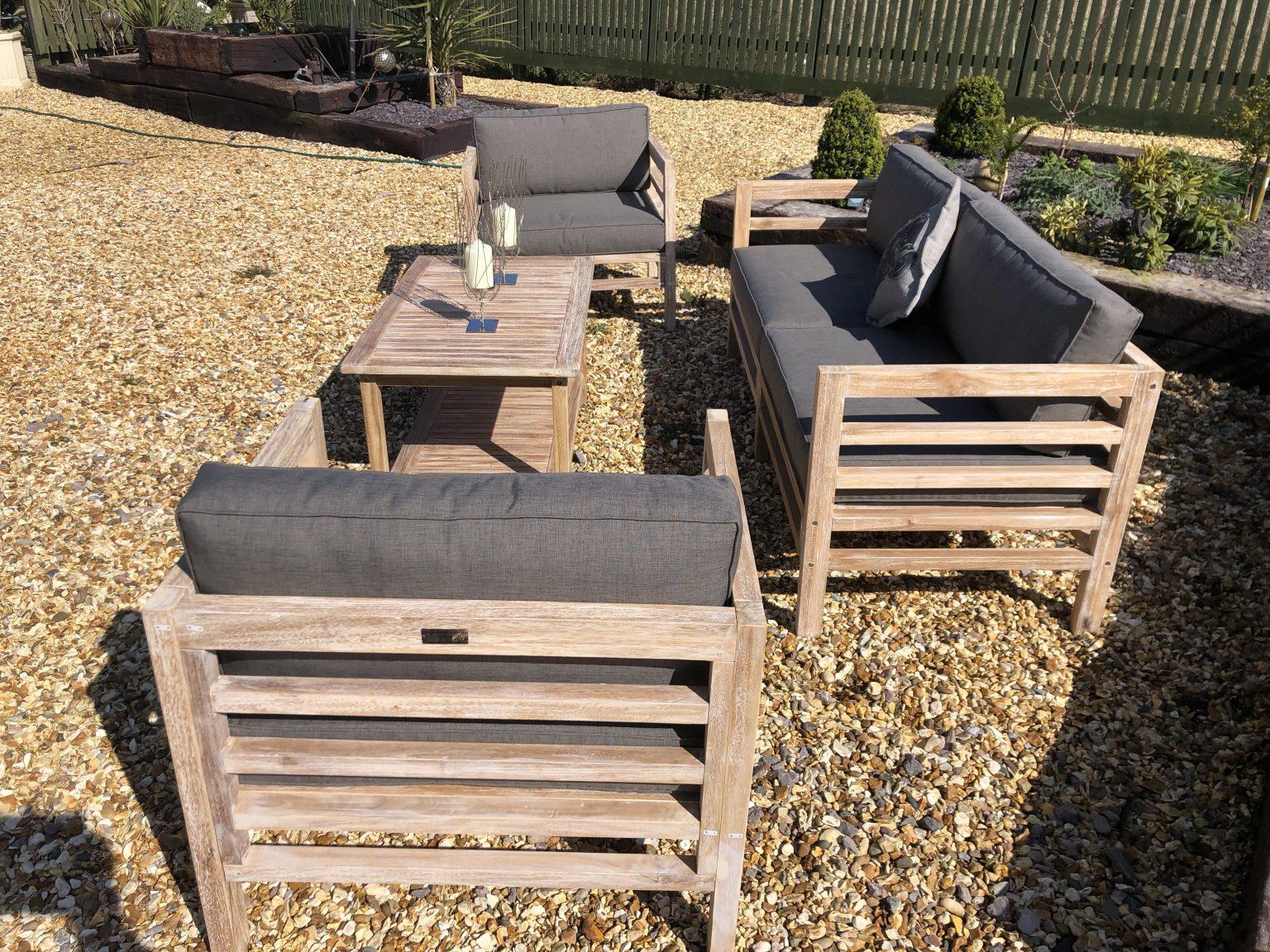 teak sofa set side