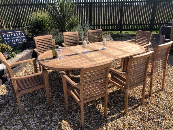 teak garden furniture extending set