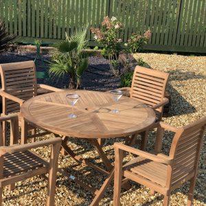 Teak Garden Furniture Round Folding Table 4 Stacking Chairs